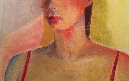 Girl in Red Dress, pastel on cardboard