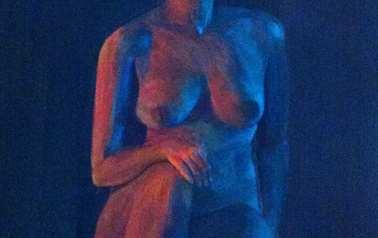 Study in blue and red light, acrylic on canvas