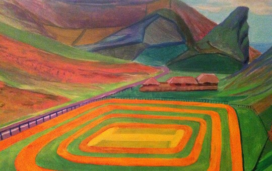 Cricket pitch in Lynton, Devon, acrylic on canvas